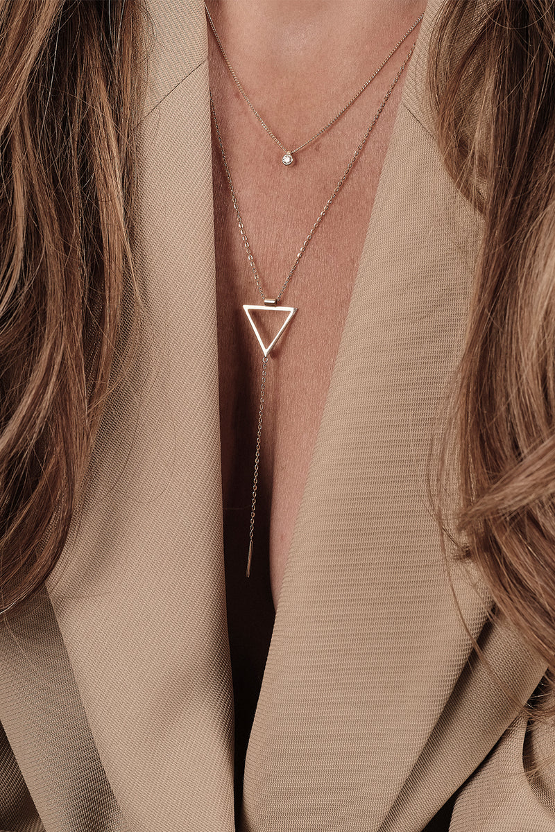 Triangle Lariat | 9K Yellow Gold