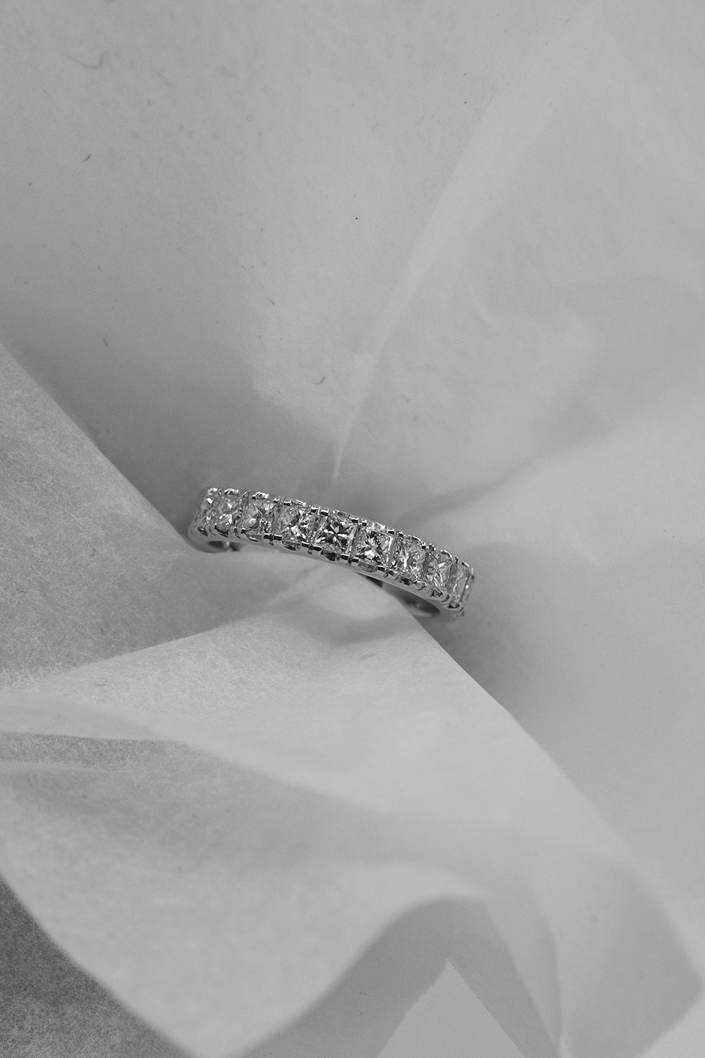 Square Diamond Eternity Band | 18K White Gold