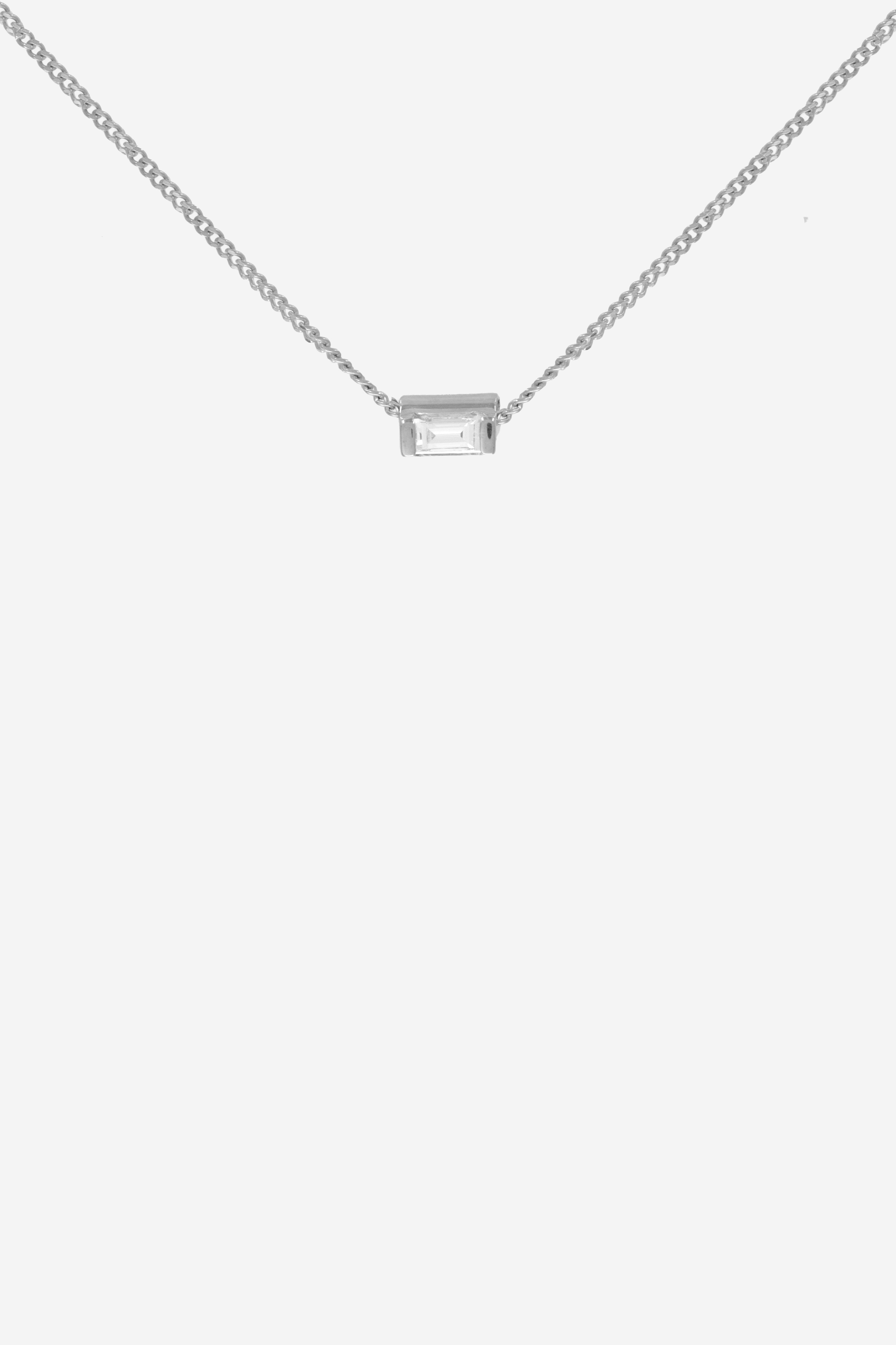 Baguette Diamond Necklace | 9K White Gold