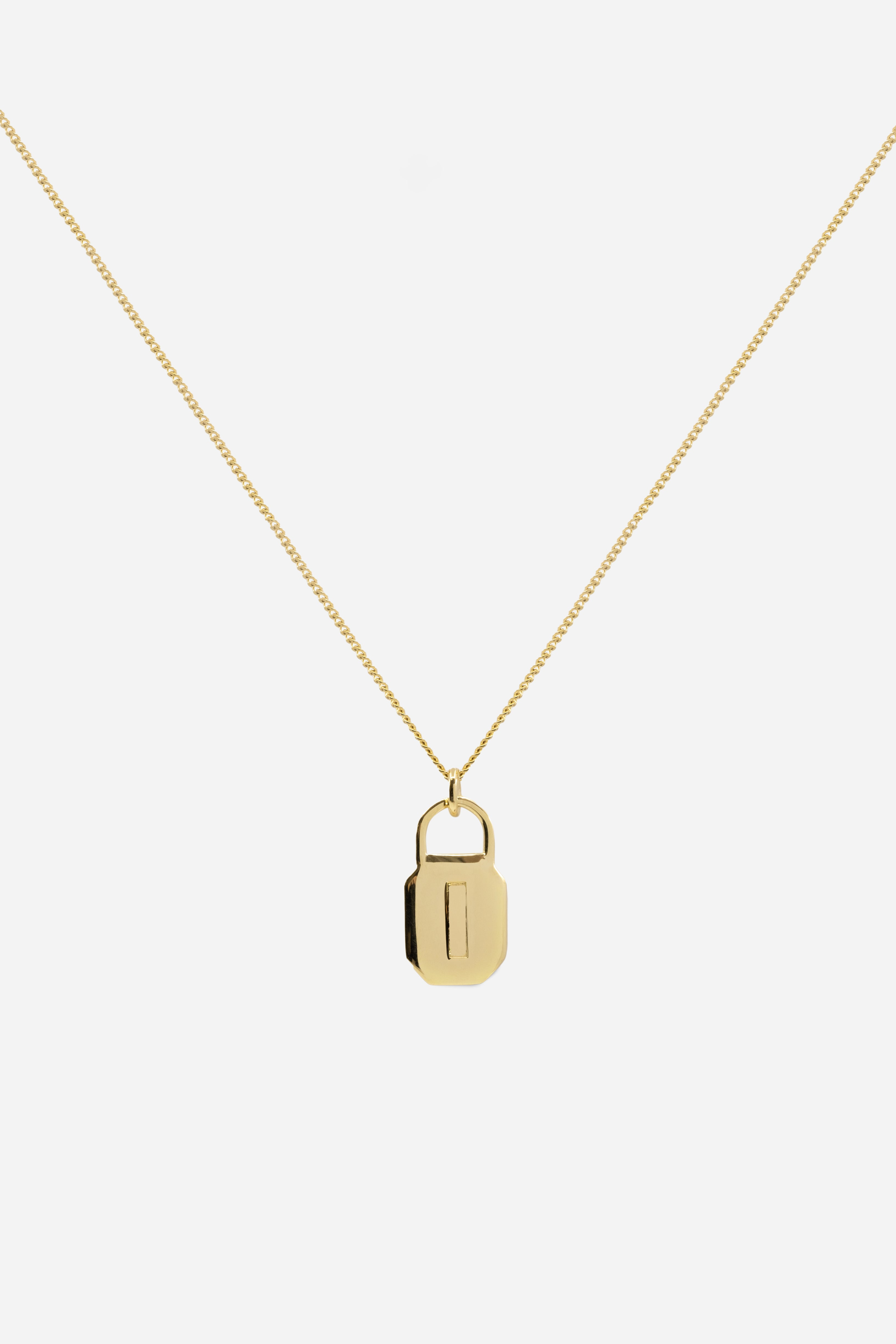 Octagon Lock Necklace | 9K Yellow Gold