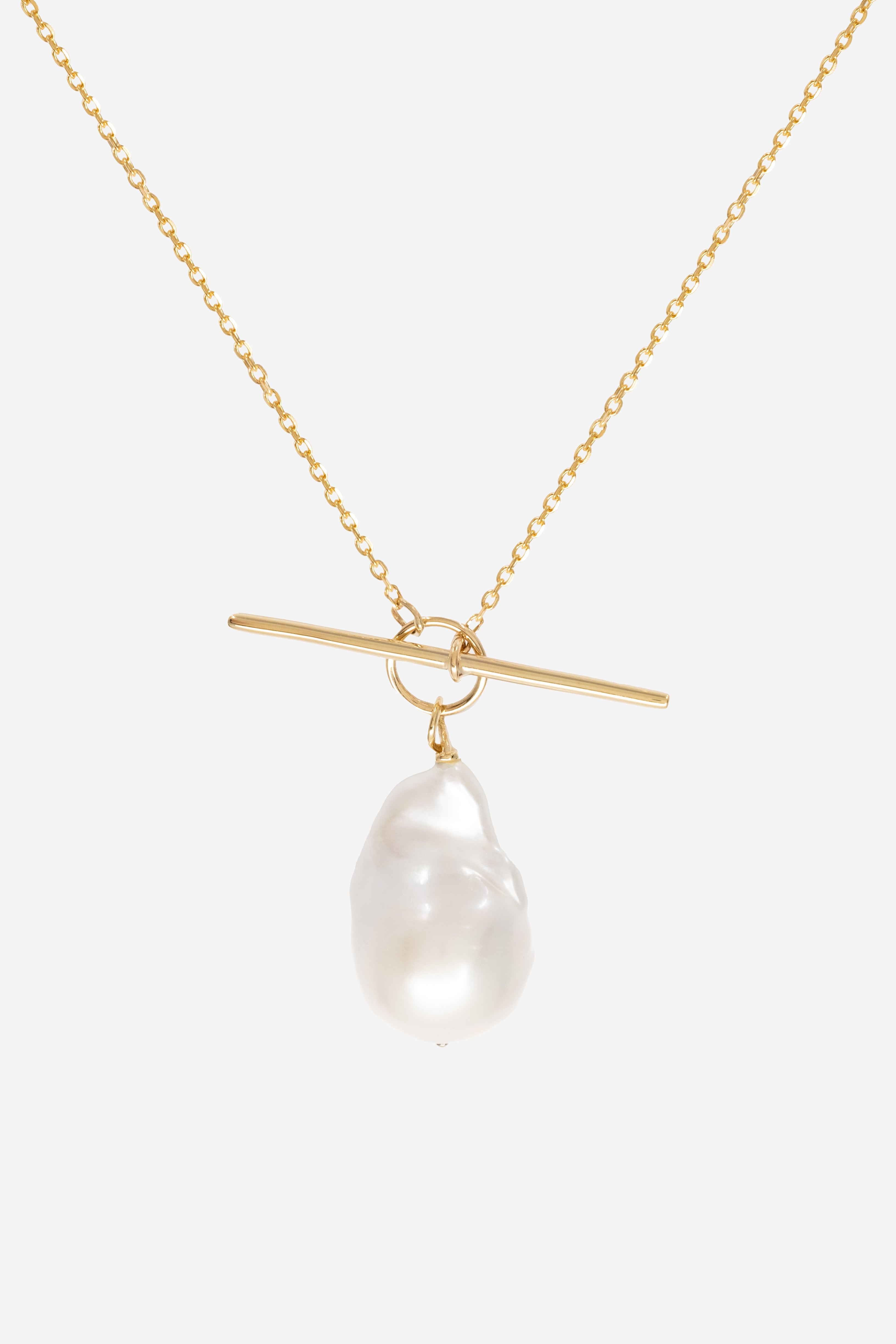 T-Bar Pearl Necklace | 9K Yellow Gold
