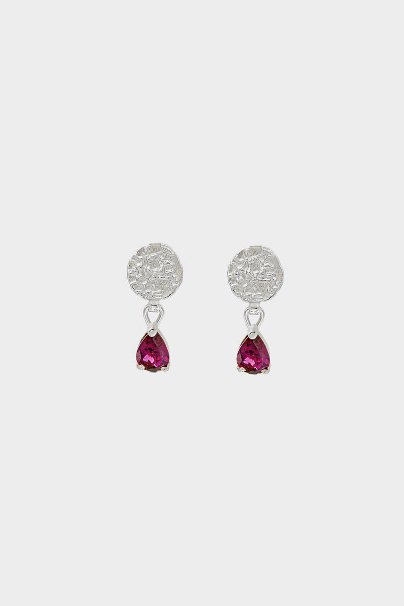 Coin Stud Earrings with Garnet | 9K White Gold