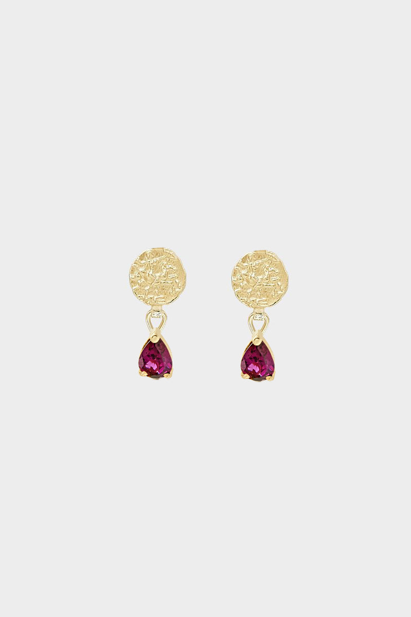 Coin Stud Earrings with Garnet | 9K Yellow Gold