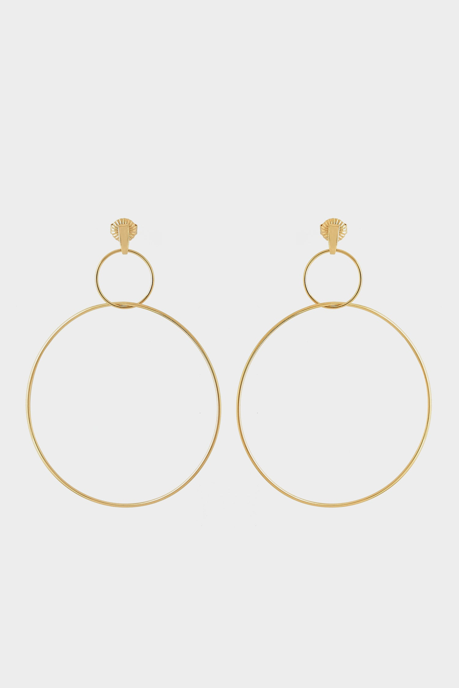 Double Drop Hoop Earrings | Gold Plated