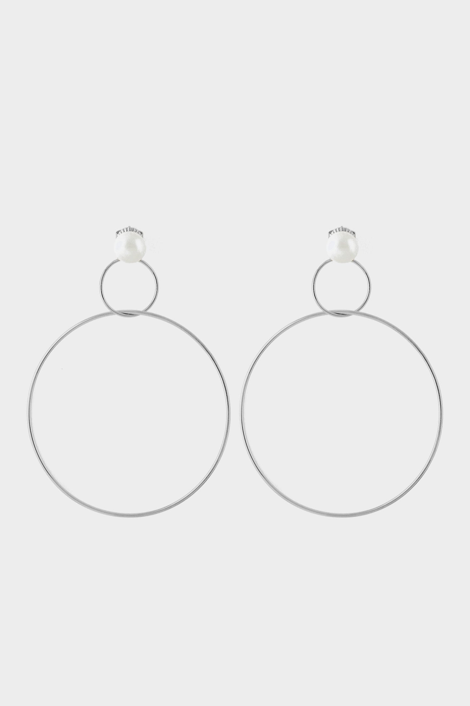 Double Drop Hoop Earrings with Pearl | Silver