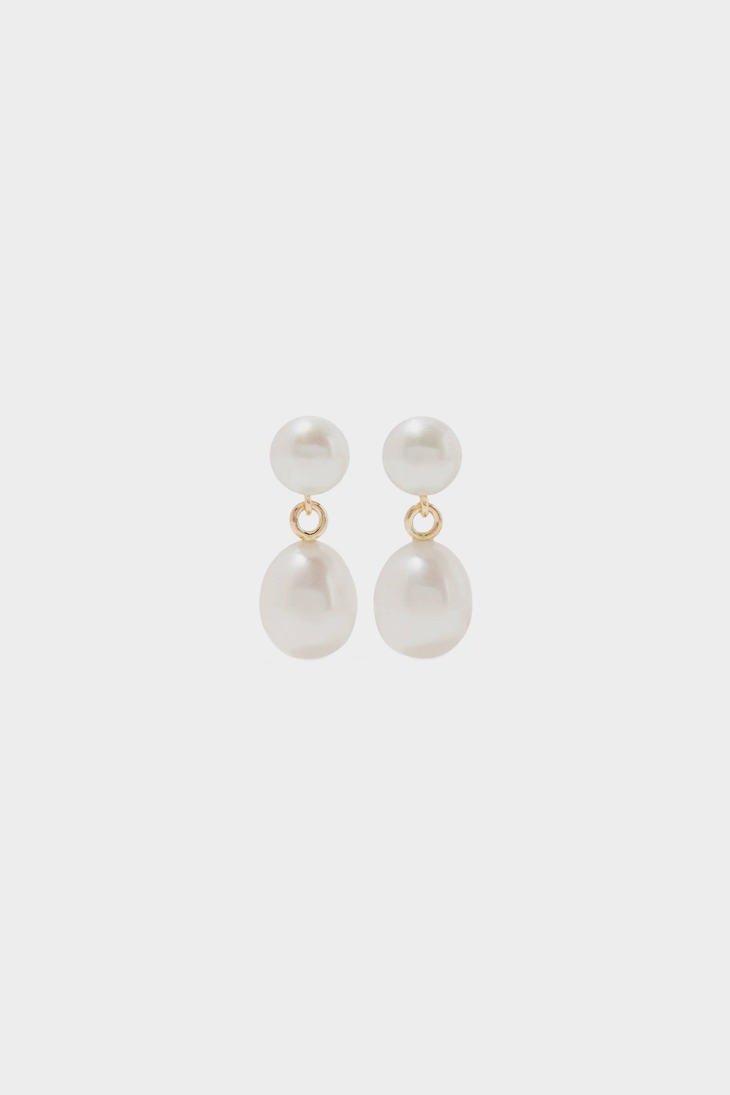 Double Pearl Drop Earrings | 9K Yellow Gold