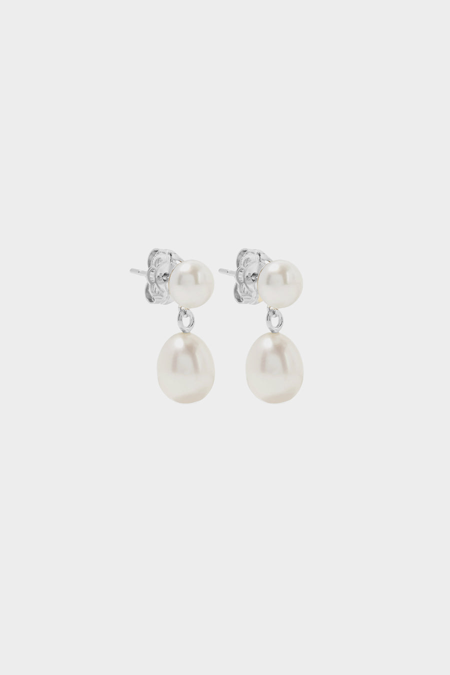 Double Pearl Drop Earrings | Silver