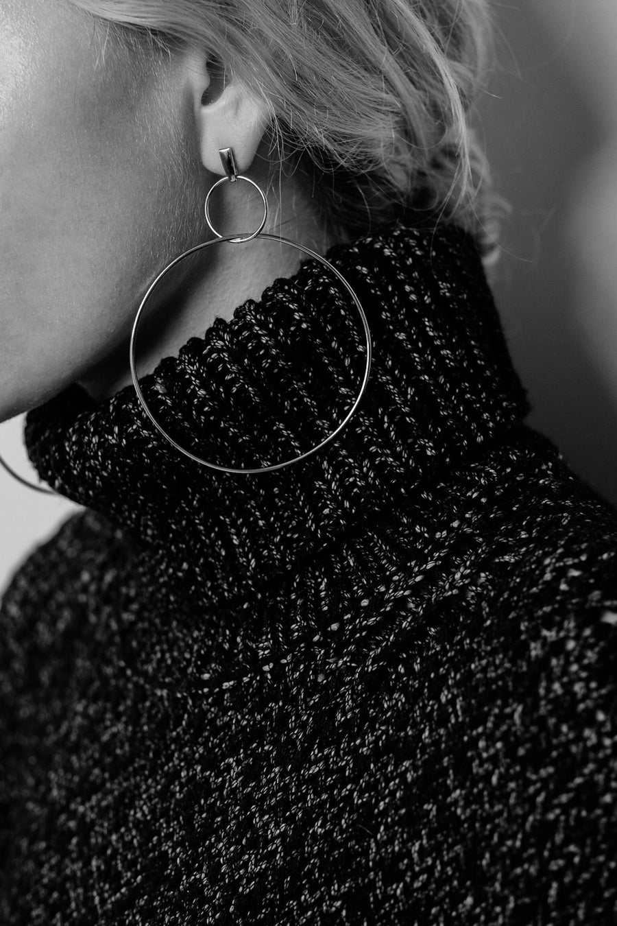 Double Drop Hoop Earrings | Silver