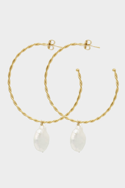 Helix Pearl Earrings Large | Gold