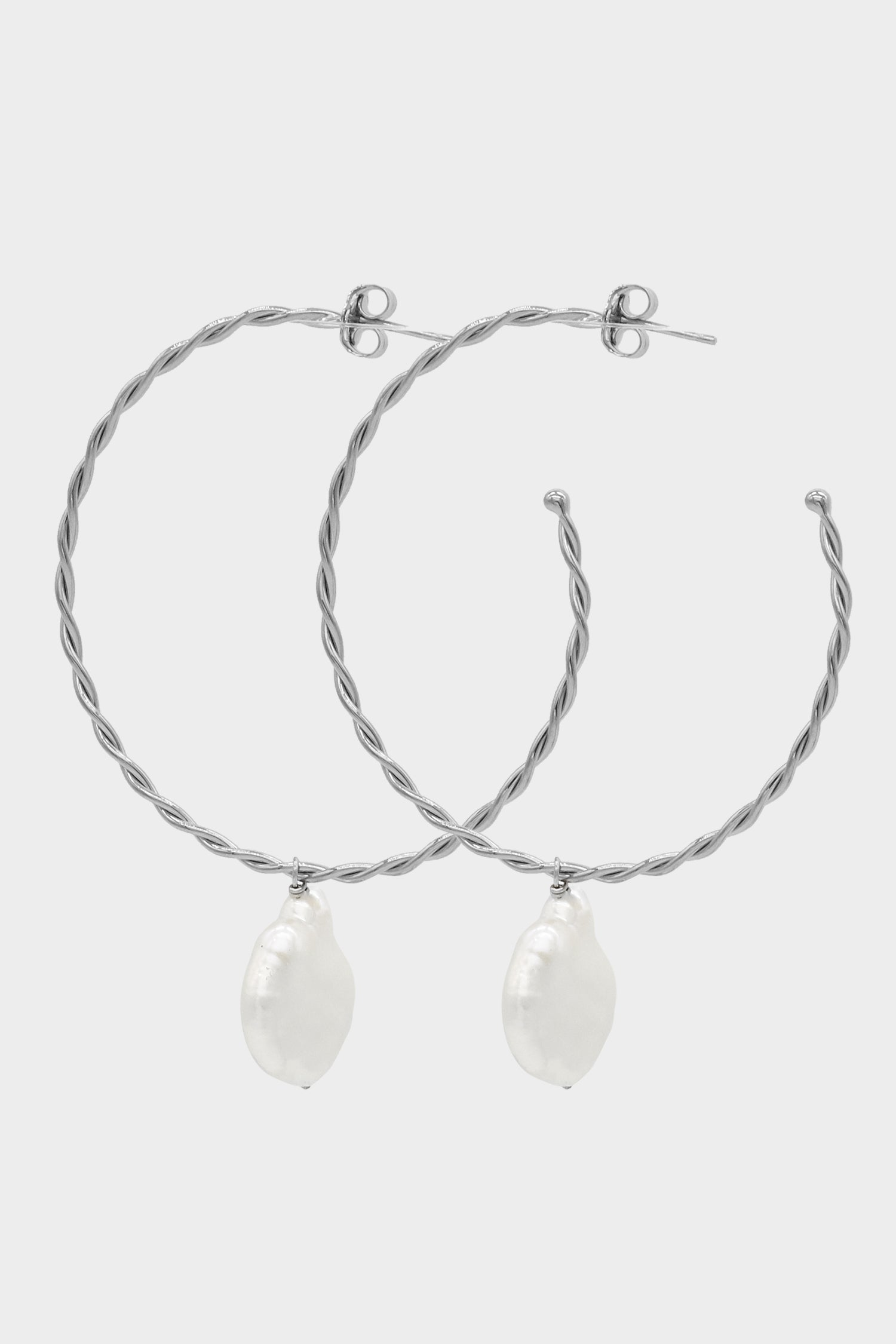 Helix Pearl Earrings Large | Silver