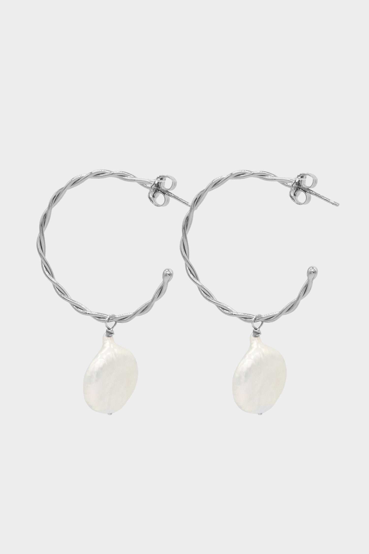 Helix Pearl Earrings Medium | Silver