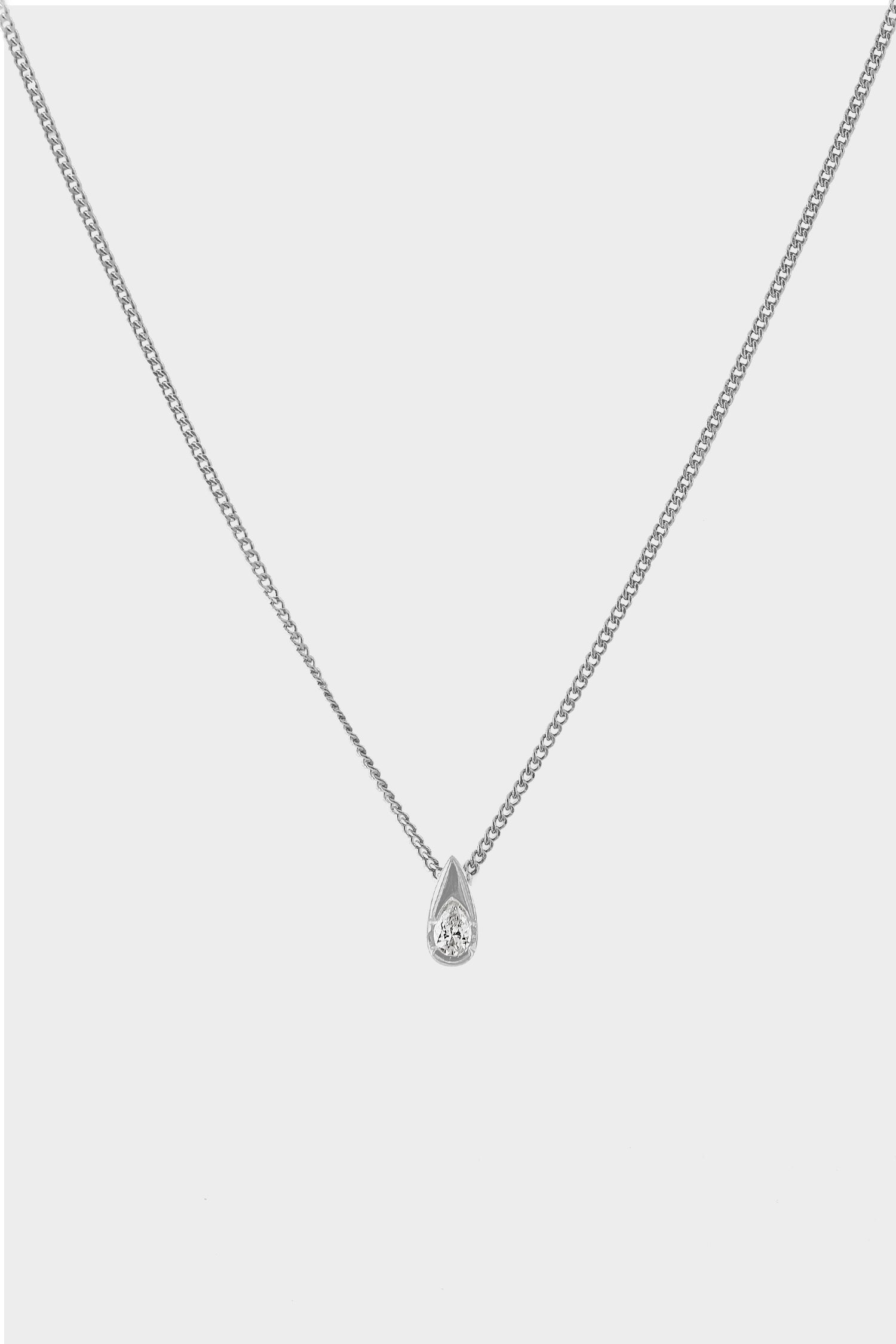 Mini Pear Diamond Necklace | 18K White Gold
