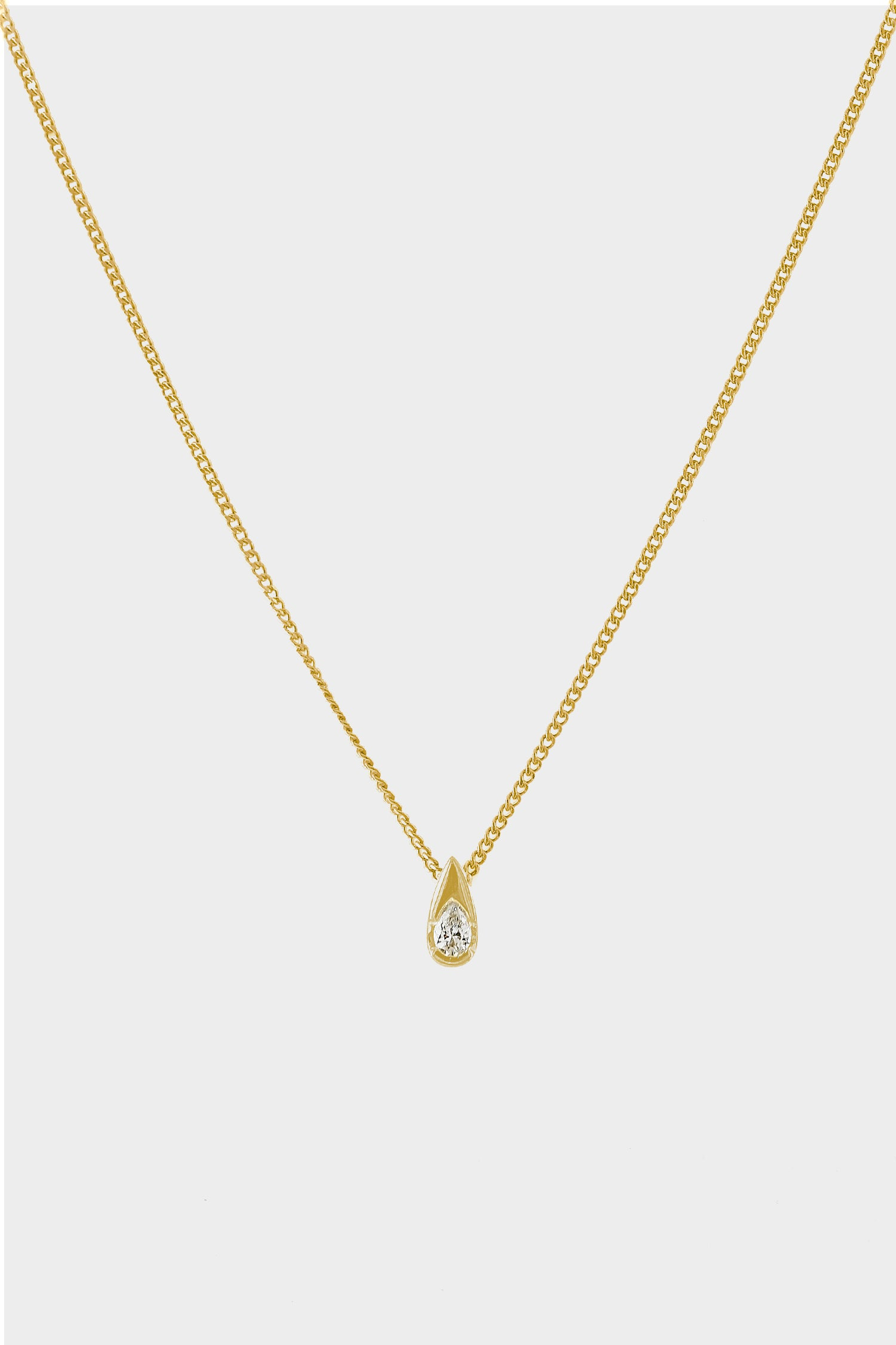 Mini Pear Diamond Necklace | 18K Yellow Gold