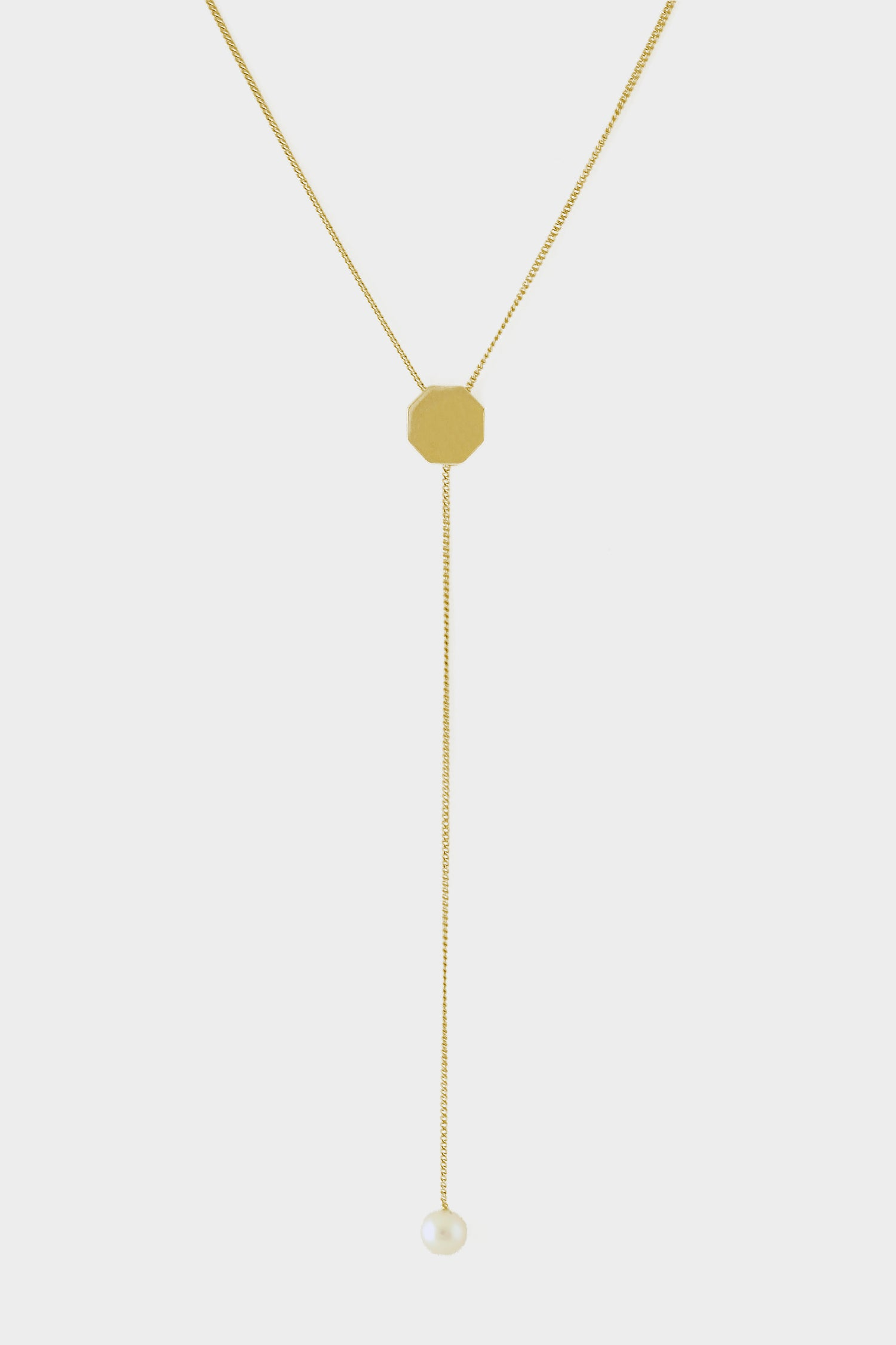 Octagon Lariat | 9K Yellow Gold