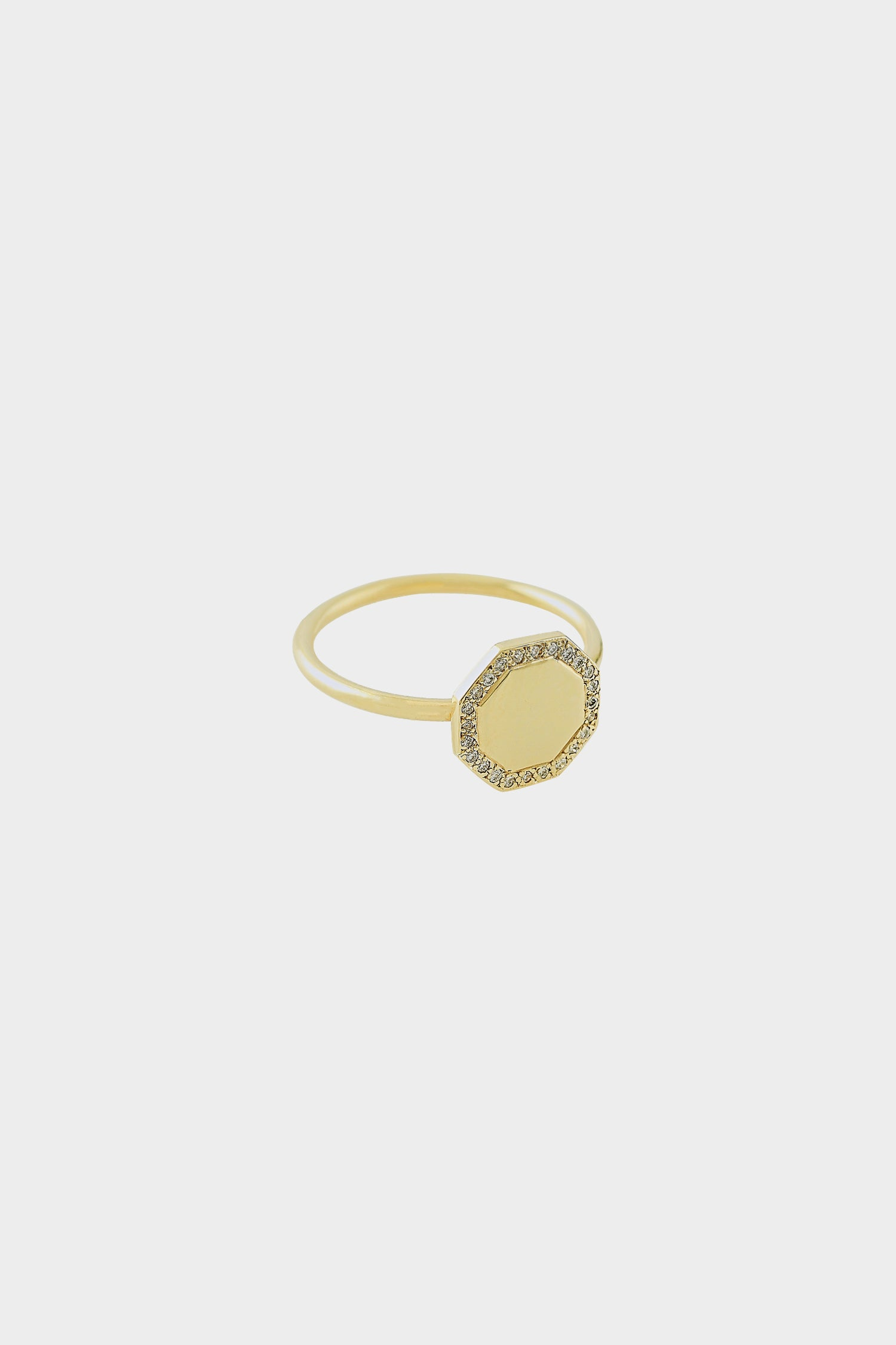 Octagon Ring with Diamonds | 14K Yellow Gold