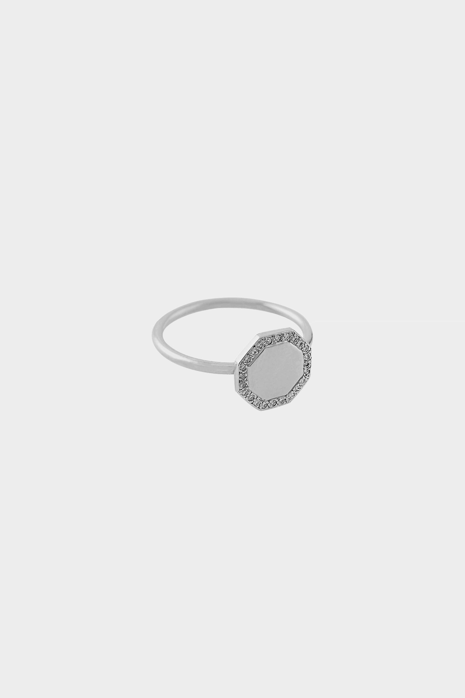 Octagon Ring with Diamonds | 14K White Gold