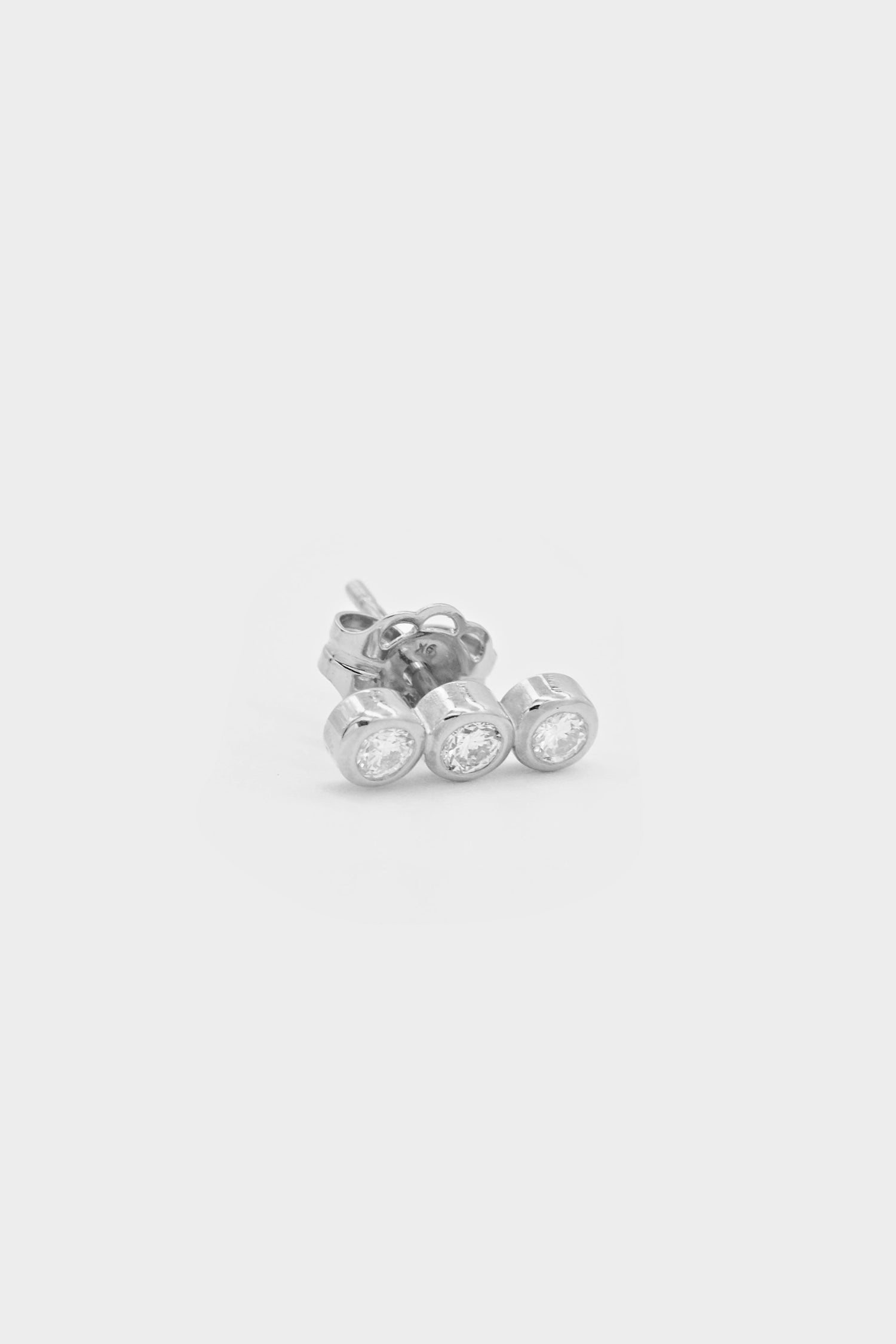 Sarah Triple Diamond Stud | White Gold