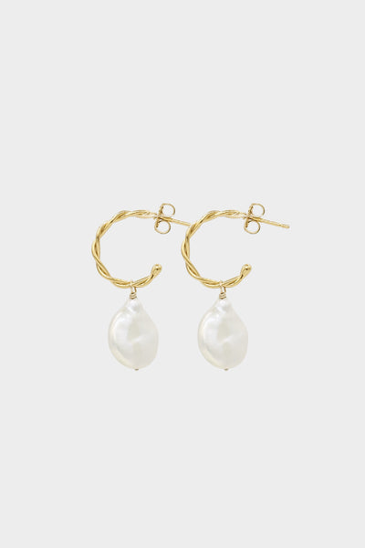 Helix Pearl Earrings Small | Gold