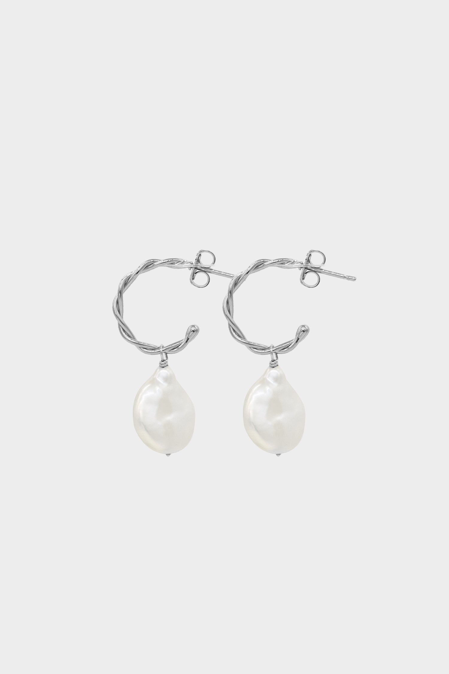 Helix Pearl Earrings Small | Silver