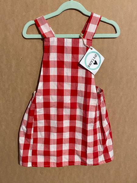 Red Gingham Pinny Size 3
