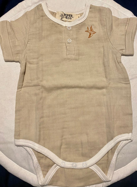 Natural Muslin Rompers