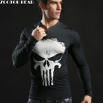 2017 Brand Men Marvel Superhero T Shirt Punisher Long Sleeve T Shirts Fitness Superman 3D Shirts Compression Shirt Tights Male