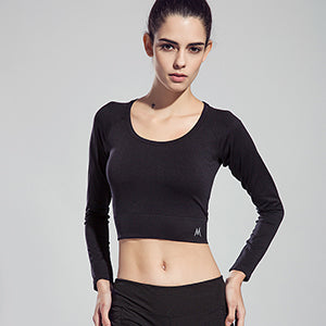 2017 Sexy Professional Gym Yoga T shirt Women's Dry Quick Running Sports Long Sleeve Fitness Jogging Exercises Cropped Tees Tops