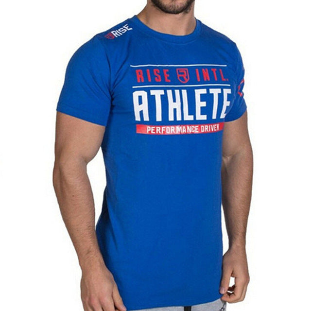 Mens Brand gyms t shirt Fitness Bodybuilding Crossfit Slim fit Cotton Shirts Short Sleeve workout Men fashion Tees Tops clothing