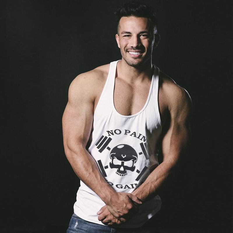 Fashion Bodybuilding Men's NO PAIN NO GAIN Skull Fitness Gyms Clothing Tanks Tops Undershirts Cotton Sleeveless Vest D-02