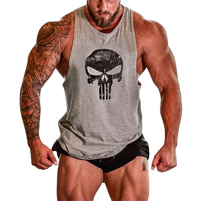 New Bodybuilding Tank Top Men Skull Print Fitness Gyms Shirt Crossfit Vests Cotton Singlets Muscle Top Stringers Vest Debardeur