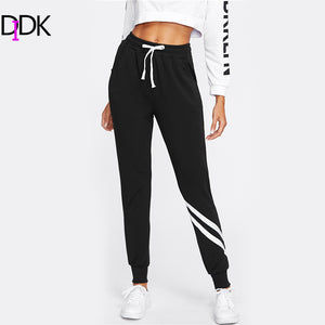 DIDK Drawstring Waist Striped Trim Palazzo Sweatpants Black Mid Waist Patchwork Exercise Long Pants 2017 Women Casual Pants