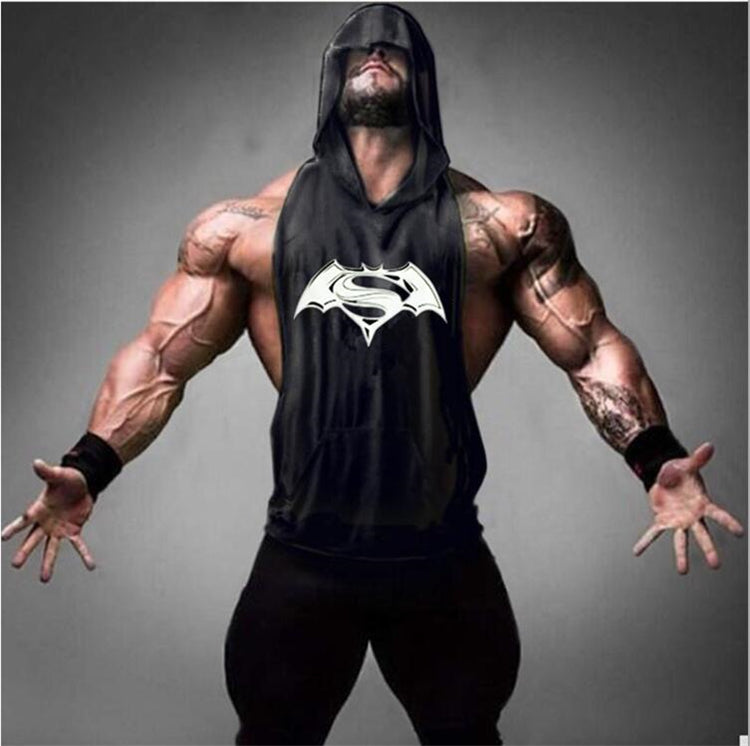 Batman VS Superman Sleeveless T Shirt with hoody Brand gyms Clothing Fitness Men Bodybuilding stringers tank tops golds singlets