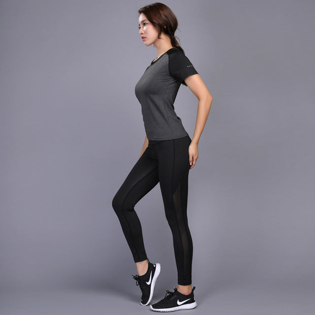LYNSKEY Sexy Yoga Set Women Fitness Running Shirt+Pants Breathable Gym Workout Clothes Compressed Yoga Leggings Sport Suit