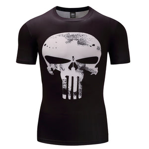 Punisher 3D Printed T-shirts Men Compression Shirts short Sleeve Cosplay Costume crossfit fitness Clothing Tops Male