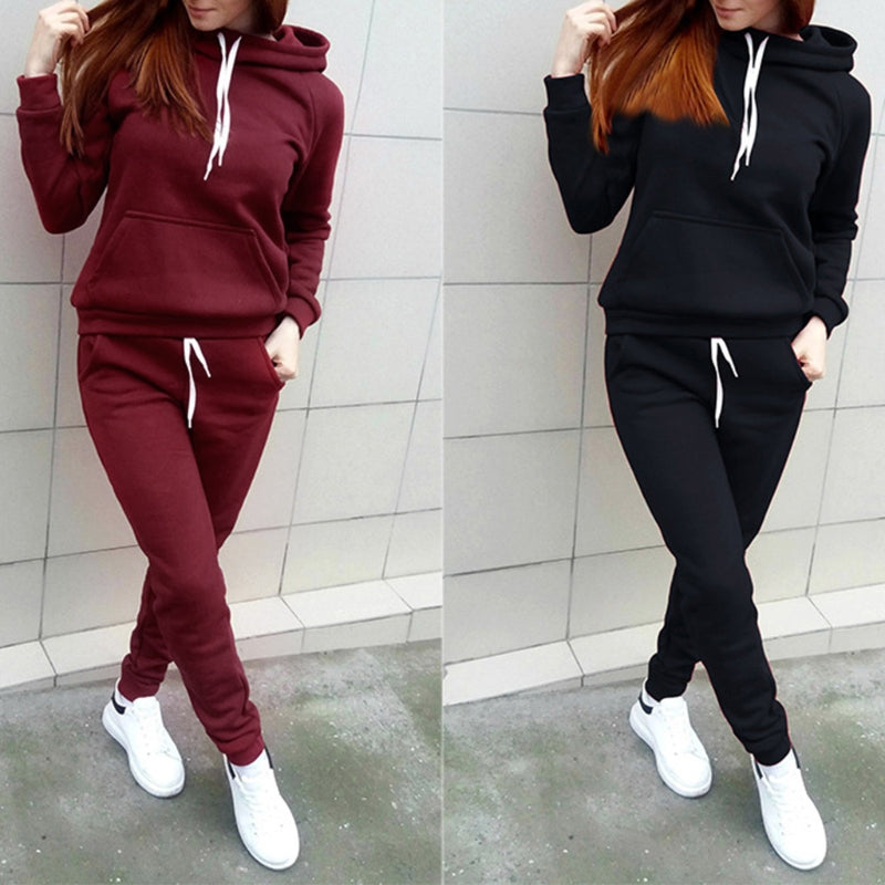 2 piece set women suit sportwear Fleece Tracksuit Set Hoodie And Sweatpants Sportwear Suit two piece set