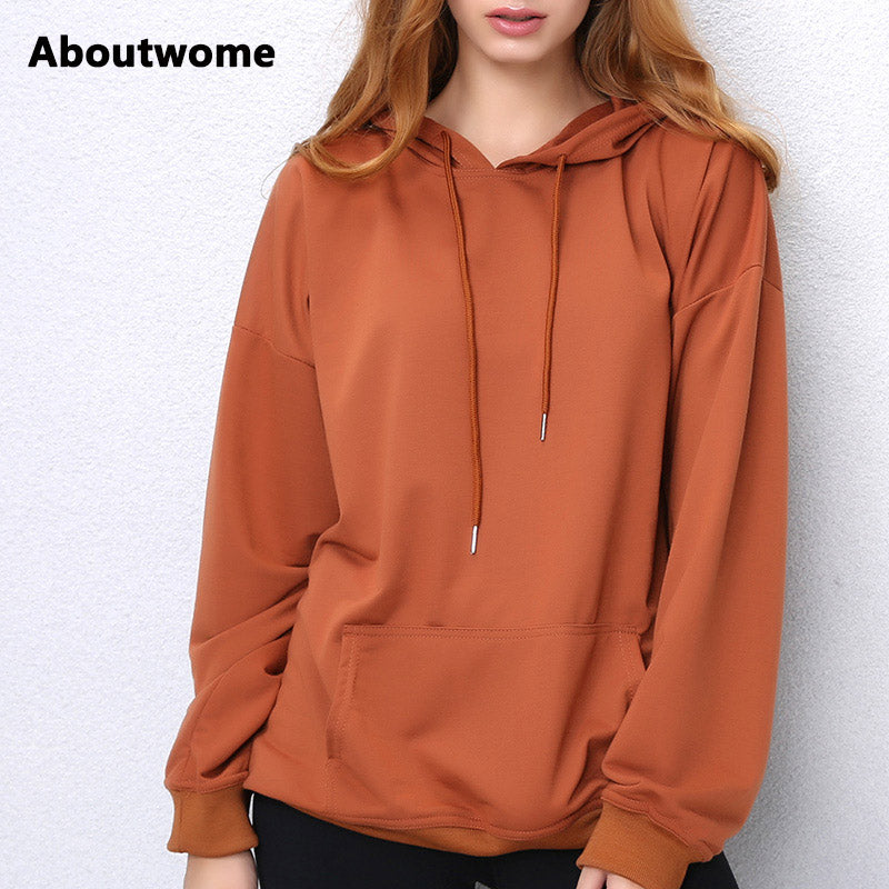 2017 Hoodies Women Camel hooded Sweatshirt Long Sleeve Pullover Loose Casual Hoody Black Green Red