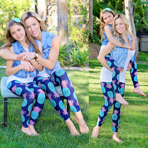 New Yoga Pants Kids Girl Women Family Stretch Gym Clothes Running Sport Legging Fitness New Pineapple Cartoon Family Pants