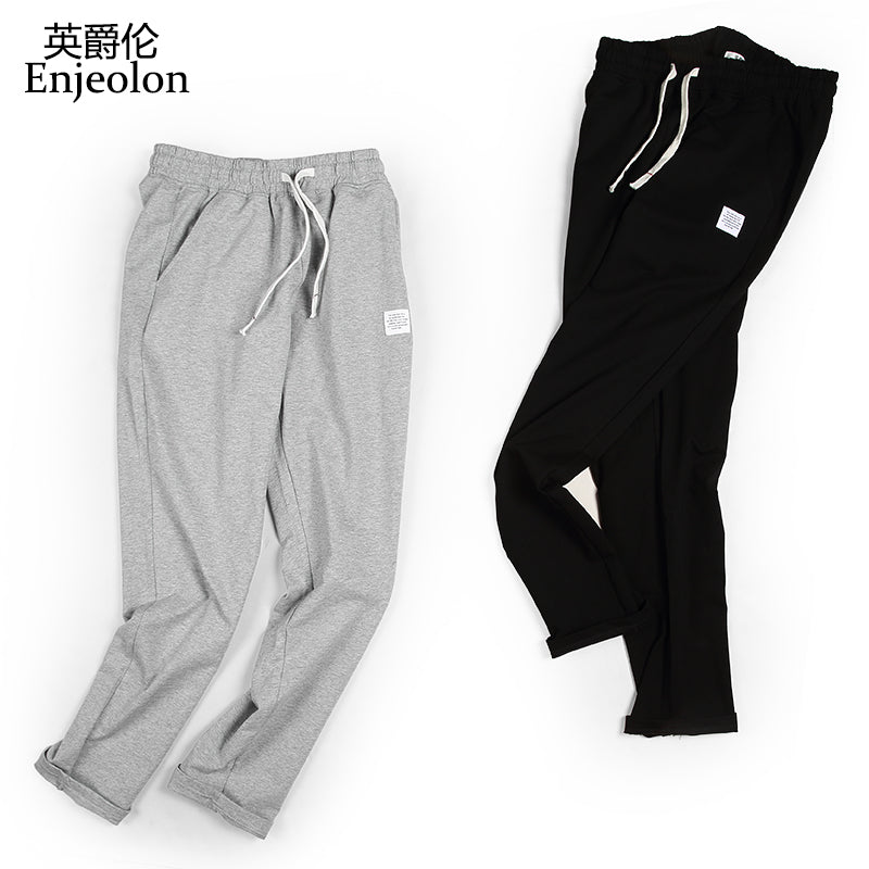 Enjeolon long trousers Black sweatpants men,top quality clothing Straight male fashion Causal clothes plus size 3XL K6227