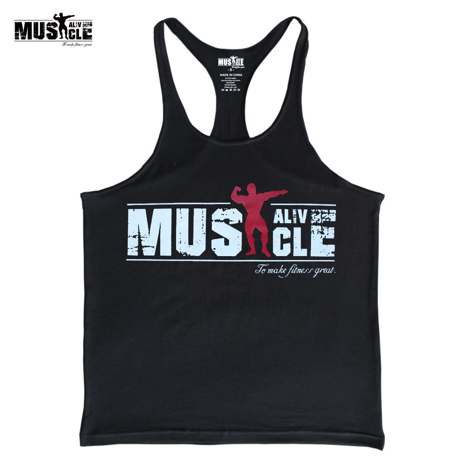 MUSCLE ALIVE Bodybuilding Tank Tops Men's Stringer Brand Clothing Men Vest Fitness T-Shirt Cotton Sleeveless Summer Tops Workout