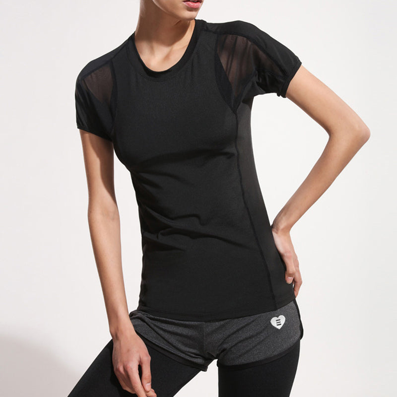 Summer Women Lady Breathable Short Sleeve Fitness Gym Yoga Running T Shirt Quick Dry Sports Tops Blouse Exercise Clothing