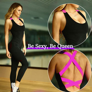YD New GYM Women One Piece Sport Suit Fitness Tights Quick Dry Compression Clothes Leggings Yoga Set Sexy Workout Tracksuit