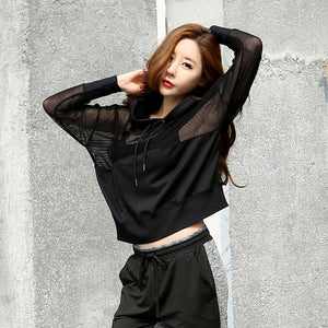 2 Colors Sport Suit Yoga Top Quick-Dry Running Shirt Gym Clothes Hooded Sport Shirt Fitness Breathable Sportswear Women Suit 30