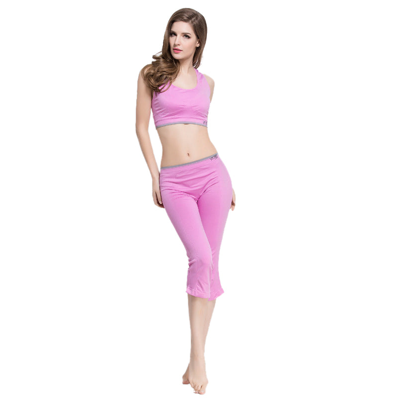 2 Pieces Women Yoga Set Bra + Legging Capri Pants Sports Sets Gym Running Clothing For Women Fitness