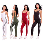 2017 New Summer Sport Yoga Set Sexy U-neck Backless Women Closed-Fitting Jumpsuit Gym Running Sport Wear Suit Workout Clothes