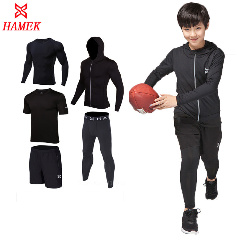 5pcs Compression kids boys Sport Suits Quick Dry Running sets Clothes Sports Joggers Training Gym Fitness Tracksuits Running Set