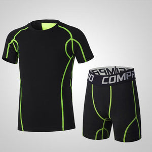 Men Kids Sports Suit Running Sets Clothes Boys Child Shorts Compression Tights Gym Fitness Soccer Basketball Shirts Quick Dry