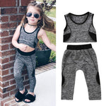Quick Dry Toddler Kids Baby Girls Yoga Vest Crop Top+Pants Leggings Sportswear Lucky Child 2CS/Set Gym Exercise Clothing Set
