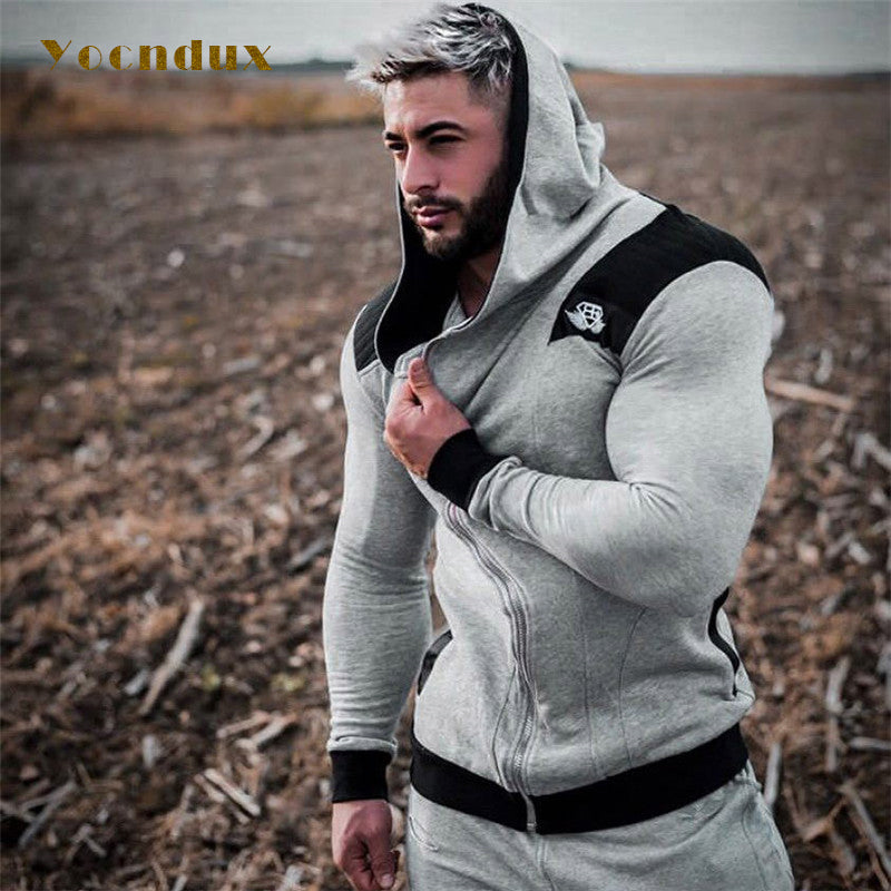 2018 New Men's Gym Sports jacket High quality Sweatshirt Hooded Fitness suits overall sweater men Trainning  Exercise Sweaters