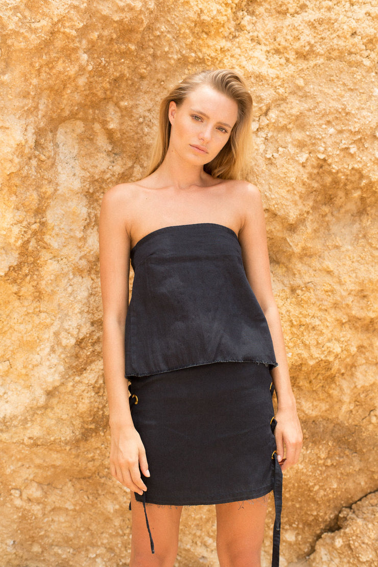 DUNE SKIRT - BLACK DENIM
