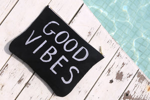 GOOD VIBES - Upcycled Black Denim Pouch